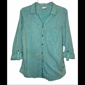 Columbia- Teal Button Down Top- Sz. M